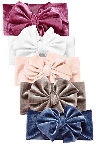 Hocaies Vendas del bebé Hairband de los bebés recién Nacidos Diademas de bebé anchas con lazo Diadema Elástica Niñas Banda Para Cabeza Bebe Accesorio Bebe Niñas Recien Nacida (5 Piezas - F)