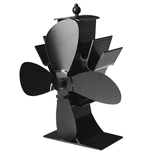 WYJW Estufa de leña de 2/4 aspas Ventilador de Chimenea Motores silenciosos Ventilador de Estufa ecológico de energía térmica para Estufas de Gas/Pellet/leña/leña (Color: Negro 4