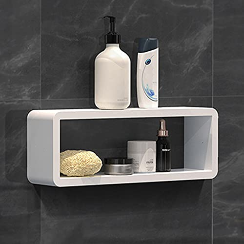 Facai Estantería de pared sin agujeros, autoadhesiva, con forma de cubo, para dormitorio, cuarto de baño, salón, color blanco, 47 x 11 x 17 cm