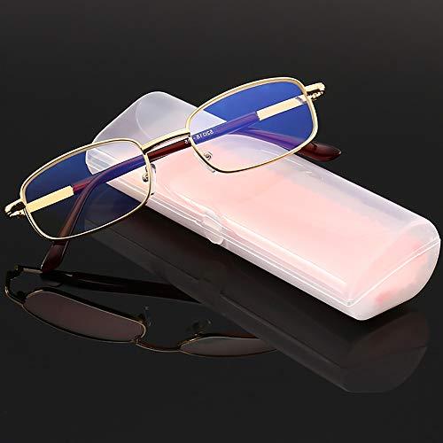 Full Frame Goldene High-End-Anti-Blaue Licht Lesebrille, stilvolle Metall Lesebrille für Brillenetui Kreuz für ältere Menschen,300°