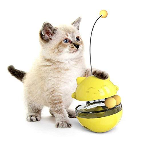 YUJY Haustier Spielzeug Nicht Fallen Nicht Tease Katze Interaktive Puzzle Leaking Essen Ball Tease Katze Stick 10×10×13.5cm/ Gelb