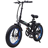 ECOTRIC Electric Fat Tire Bicycle Folding Bike 36V 12Ah 500W Lithium Battery Beach Snow Mountain 20' Ebike Moped-Black & Blue (UL Model)