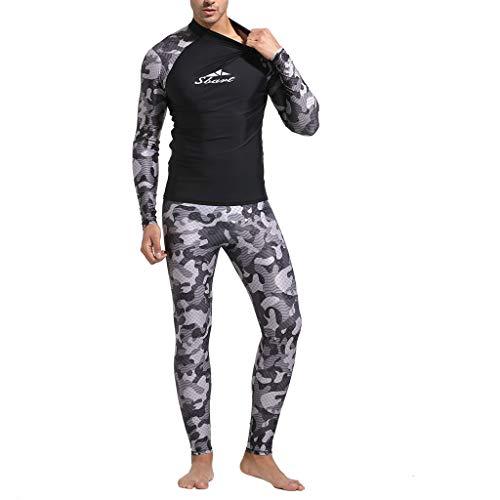 waotier Traje de Neopreno Camisa de natación para Hombre Buceo Camo erupción Protectora Camisas de Surf Playa Natación Protección UV Traje de Camuflaje Estampado