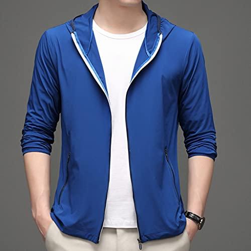 NJZYB Chaqueta de protección para hombre, informal, de piel fina, transpirable, color azul, talla 4XLcode)