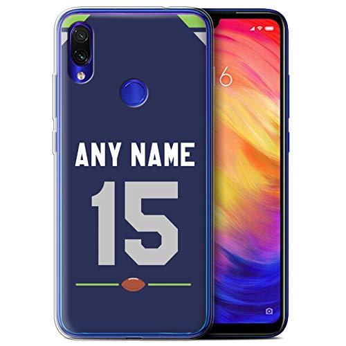 Personalizado Fútbol Americano Jersey Personalizar Funda TPU/Gel para el Xiaomi Redmi Note 7/7 Pro/7S / Azul/Verde/Gris...