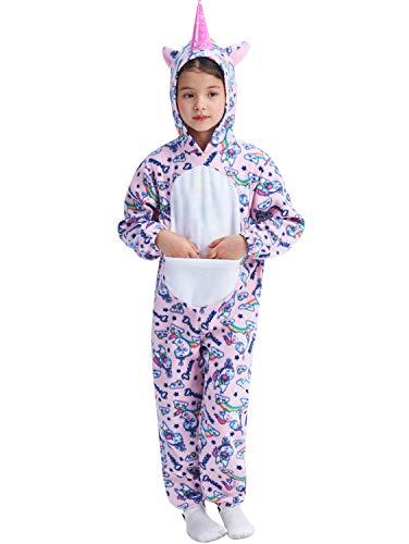IKALI Einhorn Pyjama für Kinder Tier Nachtwäsche Kleinkind Mädchen Flanell Strampler Einteiler für Halloween Geburtstagsfeier Pink