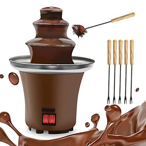 Chocolate Fountain, 3 Tiers Electric Melting Machine Chocolate Fondue Fountain with 6pcs Iron Sticks,Stainless Steel Cascading Fondue Heat Motor Controls Fondue Pot for Nacho Cheese, BBQ Sauce, Ranch