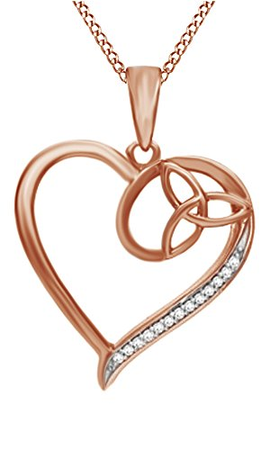 Jewel Zone US Natural Diamond Accent Heart with Celtic Trinity Knot Pendant Necklace in 14k Rose Gold Over Sterling Silver