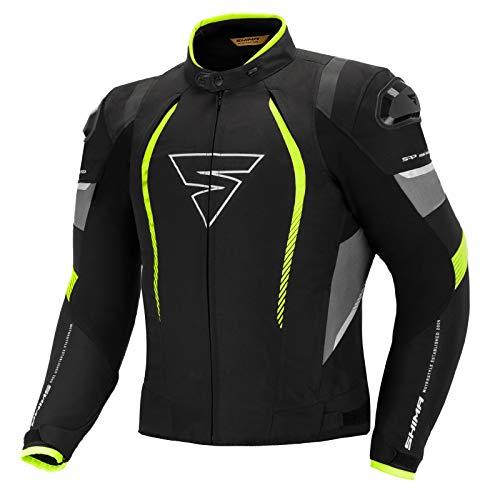 SHIMA SOLID PRO FLUO, Chaqueta de hombre de ciudad para todas las temporadas de motocicleta con protectores (Fluo, XL)