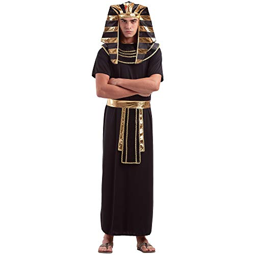 Egyptian Pharaoh Men's Halloween Costume | Ancient King TUT Style Outfit, XL Black