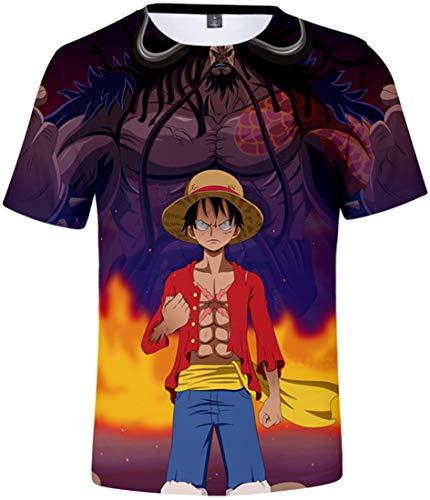 PANOZON Camiseta Hombre One Piece Luffy 3D T-Shirts Manga Corta Cuello Redondo Dibujos Animados Rey de los Piratas (L, Luffy 79-1)