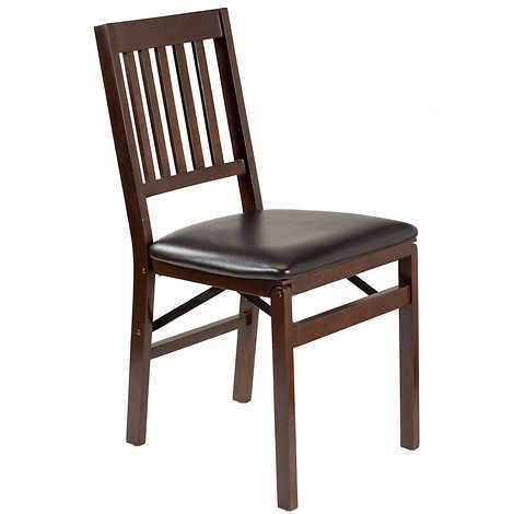 2 Pack, Stakmore Solid Wood Upholstered Folding Chair, Espresso 12.5 lbs