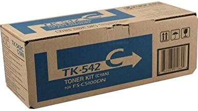 Kyocera 1T02HLCUS0 Model TK-542C Cyan Toner Cartridge For use with Kyocera FS-C5100DN Color Network Laser Printer, Up to 4000 Pages Yield at 5% Average Coverage