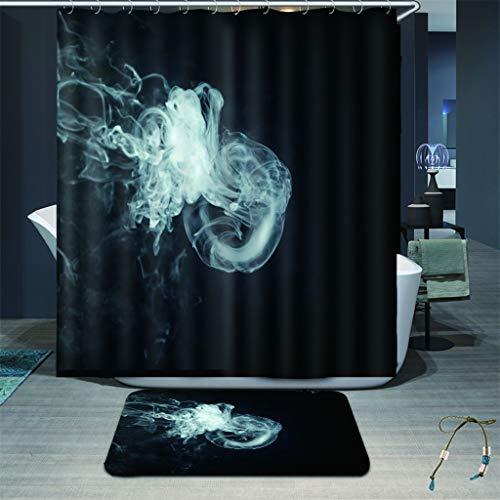 zhkn Duschvorhang Rauch Ring Muster Wasserdicht Formbeständig Bad Vorhang Waschbar Polyester Duschvorhänge Mit 12 Haken 180X200CM
