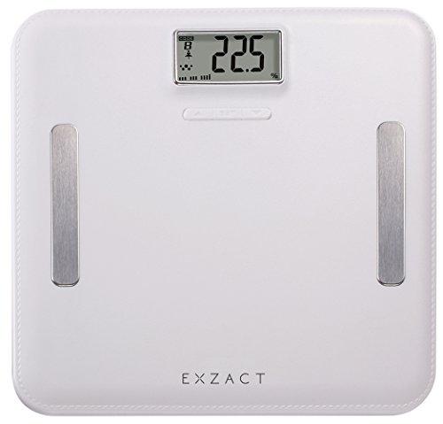 EXZACT Elite Cuero-Mirada Plataforma/ Analizador Corporal / Báscula Personal Electronica / Báscula de Baño Digital - Grasa Corporal / Hidratación / Músculos Corporal/ Hueso – emoria para 12 usarios- Capacidad Extra Grande: 180 kg / 400 lb (Blanco)