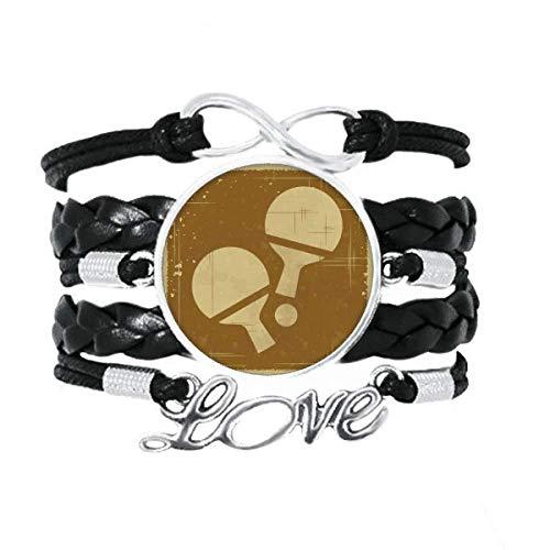 DIYthinker Armband für Tischtennis-Sport, Illustration, Liebes-Accessoire, gedrehtes Leder, Strickseil, Geschenk