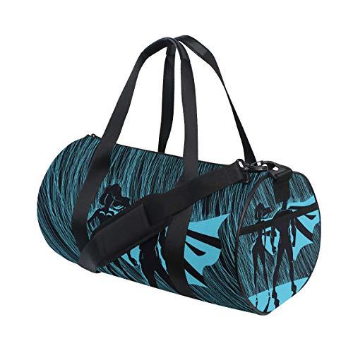 YCHY Gym Bag,Sporttasche Superheld Paar Männlich Weiblich Superhelden Posing,New Canvas Print Eimer Sporttasche Fitness Taschen Reisetasche Gepäck Handtasche