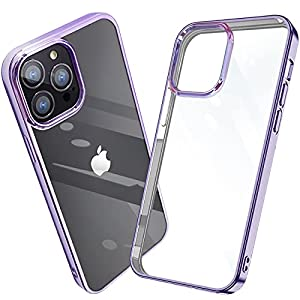 iPhone 13 pro ケース クリア iPhone13pro カバー 透明 薄型 軽量 耐衝撃 TPU 電気めっき紫 人気 一体型 全...