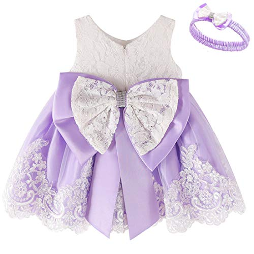 Tutu Dresses for Girls 6-12 Months 9 Months Baby Girls Dresses Blush Lavender Pageant Party Holiday Dress for Girls Dresses Sleeveless Birthday Fancy Dress Cute (Purple 12M)
