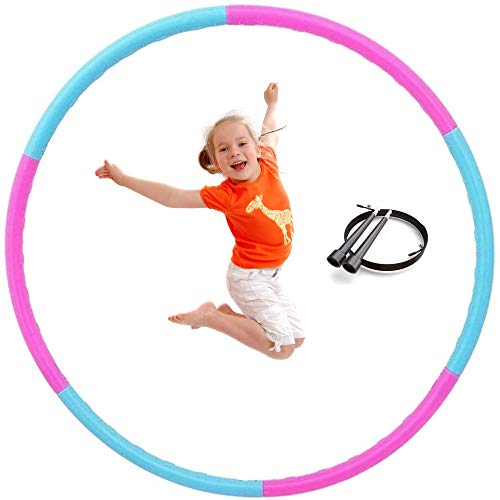Hula Hoops for Kids  Weighted Hula Hoop for Boys Hula Hoop Girls with Jump Rope Workout Equipment for Fitness 6 Section Size Adjustable Design Hoola Hoop Soft Playing Indoor/Outdoor Games 2 Pack