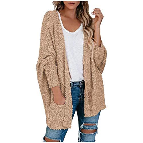 Lazzboy Store Strickjacke Damen Lang Frauen Popcorn Langarm Open Front Pockets Übergroße Einfarbig Mehrere Farben Verfügbar Cardigan Sweater Mäntel (Khaki,S)