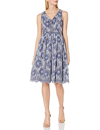 Eliza J Women's V-Neck Fit and Flare Dress, Navy, 4