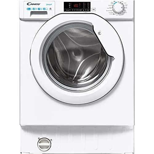 CANDY CBD485D1E Integrated Washer Dryer, 8KG Wash/5KG Dry, 1400 RPM, White/Chrome, CBD 485D1E/1-80
