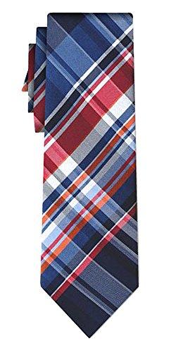 Cravate soie tartan pattern blue w red