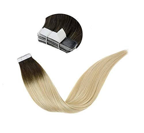 Preisvergleich Produktbild LaaVoo 14 Zoll Tape in Echthaar Extensions Balayage Menschenhaarverlängerung Ombre Dunkelbraun bis Goldene Blondine und Platinblond Remy Hair 50GR / 20PC