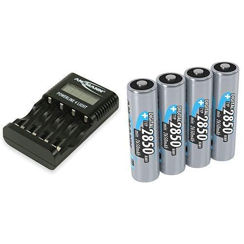 ANSMANN Powerline 4 Light Ladegerät Akku / Leichte & kompakte 4-fach Ladestation & Akku AA Mignon Typ 2850mAh 1,2V aufladbare AA Batterien mit hoher Kapazität & ohne Memory Batterien AA ideal 4 Stück