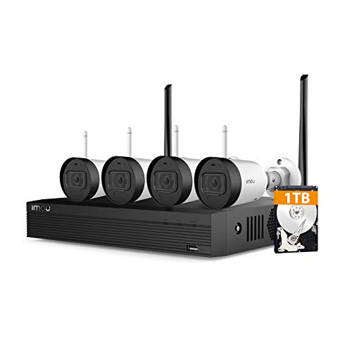 Kit de cámaras de videovigilancia WiFi NVR con 1 TB HDD, cámara de vigilancia exterior 4 CH 1080P con visión nocturna 30 m, IP67 Impermeable, sensor de movimiento
