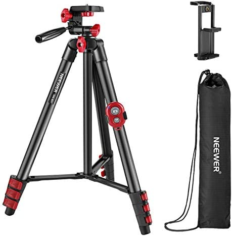 Neewer Tripod Kit 54 Inch Travel Tripod with Remote Carrying Bag and 2 in 1 Phone Tablet Clamp product image