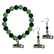 Officially licensed product licensee: Siskiyou buckle Colorful Dangle earrings with team colored fan beads and hypo-allergenic fishhook posts The chic team charm has enameled team colors and carved details Brightly colored bead bracelet stretches to ...