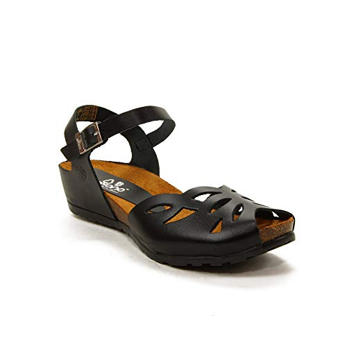 YOKONO Damen Sandalen, Schwarz - Schwarz - Größe: 37 EU