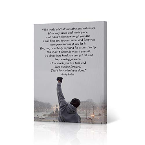 HB Art Design Rocky Balboa Quote Motivational Wall Art Canvas Wall Art Print Inspirational Speech Sylvester Stallone Entrepreneur Office Decor Movie Man Son Ready to Hang - 12x8