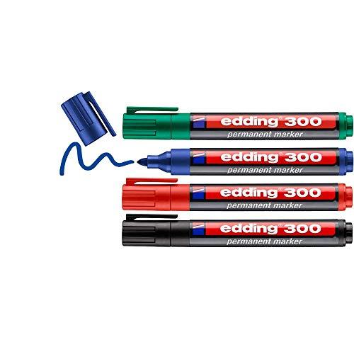 edding 300 Permanentmarker - schwarz, rot, blau, grün - 4 Stifte - Rundspitze 1,5-3 mm - wasserfest, schnell-trocknend - wischfest - für Karton, Kunststoff, Glas, Holz, Metall, Glas