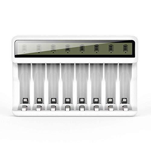 Powerowl LCD Batterieladegerät Akku Ladegerät AA AAA 8 Ladekanäle Plug Charger Akkuladegerät für 8 AA/AAA Akku wiederaufladbare Batterien