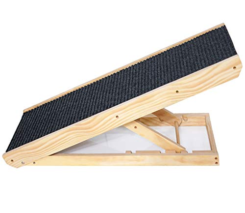 Senneny Wooden Adjustable Pet Ramp - Folding Portable Dog & Cat Ramp Perfect for Bed and Car - Non Slip Carpet Surface Height Adjustable Ramp Up to...