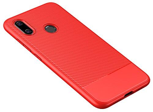 ZSCHAO Funda para Xiaomi Mi 8 Fibra de Carbono Silicona Slim Fina antigolpes +Cristal Templado TPU Carcasa Funda Compatible con Xiaomi Mi 8 Carbon Ultrafina Libro Mate Case Cover Bumper Roja