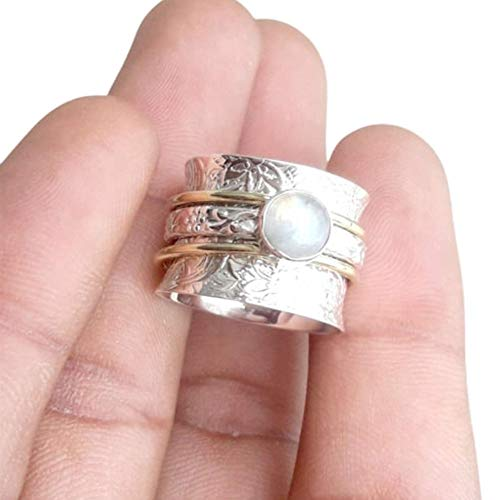 Rainbow Moonstone Ring, 925 Sterling Silver Ring, Spinner Ring, Mix Metals Ring, Meditation Ring, Handmade Ring, Moonstone Spinner Ring, Fidget Ring, Boho Ring, Party Wear Ring, Gift For Him