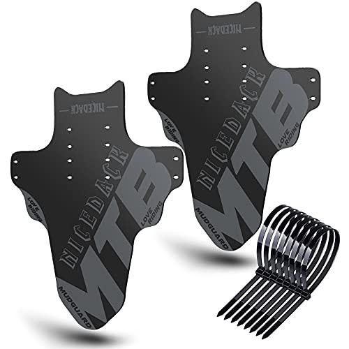 NICEDACK Parafanghi per Mountain Bike, 2 Pezzi, Mudguard Fit 20' - 29 Pollici MTB parafango Anteriore e Posteriore Compatibile con parafanghi per Bicicletta (Grigio)