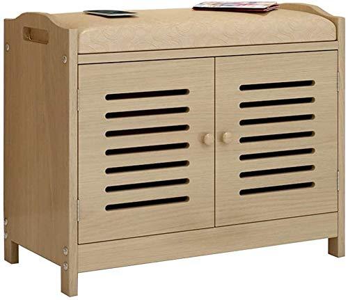 Zapato Banco de Almacenaje lumbrera Diseño puerta de la caja de almacenamiento oculto 2 estantes PU asiento tapizado de calzado Cambio de heces marco de madera maciza 150 kg portante 60x30x49cm