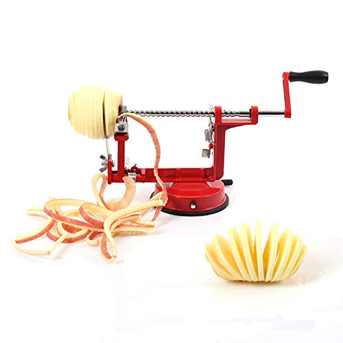 Apple Peeler, ULIULI Apple Corer Slicer Peeler 3 in 1 Spiralizer with Stainless Steel Blades, Heavy Duty Hand-Cranking Potato Peeler with Suction Base, Red