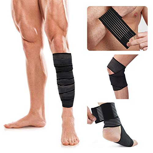 Elastic Calf Knee Compression Bandage Wraps Support for Ankle Wrist Thigh,Reduce Muscle Swelling and Sprains,Pain Relief,Shin Splints Guard for Sports Gym Weightlifting,Running, Tennis,Soccer,Football