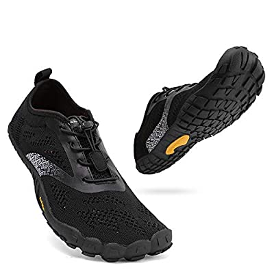 ALEADER hiitave Mens Barefoot Trail Running Shoes Wide Toe Glove Crossfit Five Fingers Hiking Minimalist Shoes All Black 13 M US Mens