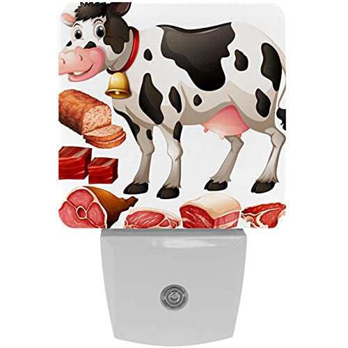 Vaca y productos cárnicos Impresión Plug-in LED de luz de noche para niños con luz nocturna de noche con movimiento automático Senor adecuado para dormitorio, baño, escaleras, cocina, pasillo