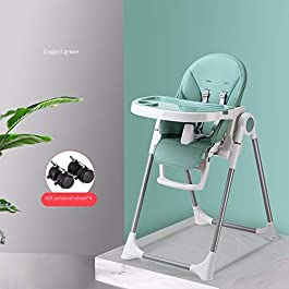 High Chair for Babies & Toddlers, Foldable Highchair with Multiple Adjustable Backrest, Footrest and Seat Height, Removable Tray, Detachable PU Leather Cushion