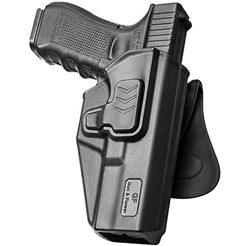 Compatible with Glock 17 Holster, Polymer OWB Holster Fits G17 19 19x G23 31 32 45(Gen1-5) G22 (Gen 1-4), Paddle Belt Holster Accessories for Outside Waistband , 9mm Gun Holster for Men/Women.