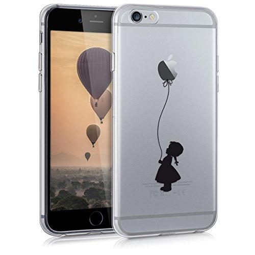 kwmobile Cover Compatibile con Apple iPhone 6 / 6S - Custodia in Silicone TPU - Backcover Protettiva Cellulare Ragazza con Palloncino Nero/Trasparente