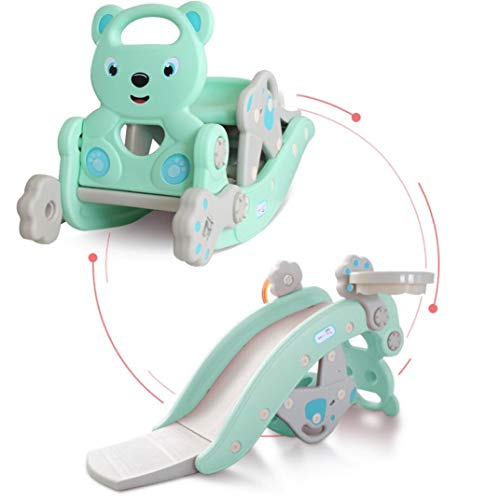 Baby 4 in 1 Rocking Horse Slide Set Toddler Climbing and Animal Rocker with Basketball Hoop and Ferrule Indoor and Outdoor for Boys and Girls (A)
